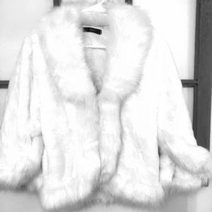 White faux fur coat cape